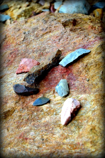A collection of ancient stone tools found in the cave